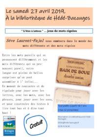 """""""L'être à lettres """" jeux de mots rigolos @ Bibliothèque de Hédé-Bazouges"""