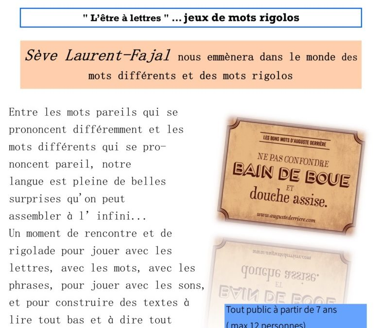 """""""L'être à lettres """" jeux de mots rigolos"""